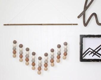 Felt Ball Hanging Mobile, Felt Ball Wall Hanging, Beige and White, Gender Neutral, Pom Pom Wall Hanging, Nursery Decor, Office Decor
