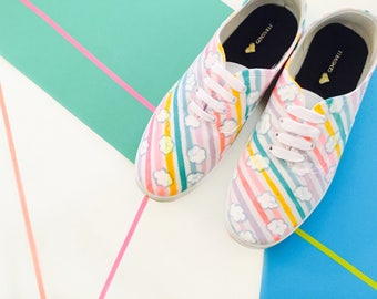 Glitter Rainbow Pumps - UK SIZE 7 - colourful - kitsch - kawaii - sneakers - footwear - shoes - multicolour - stripes - clouds