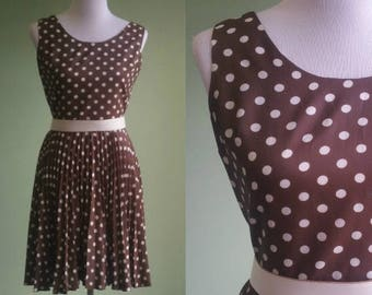 "1960s Polka Dot Dress - Pleated Skirt Pretty Woman Dress- Small 27"" Waist"