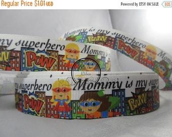 "Cute Ribbon 1 Inch Grosgrain Ribbon by the Yard ""Mommy is my superhero"" RN17020"