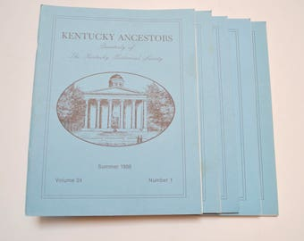 Kentucky Ancestors: Quarterly of The Kentucky Historical Society, 1988, 1989, genealogy research books, set of five