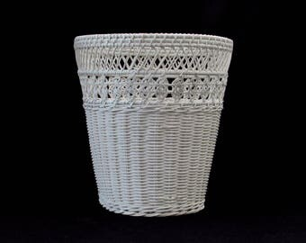 White Wicker Waste Basket - Celtic Knot Design Motif - French Country - Shabby Chic - Vintage Cottage Home Decor