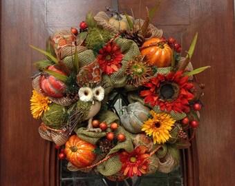 Owl Burlap and Mesh Fall  Wreath