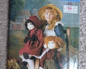 """UNCUT Vintage Vogue Craft Pattern 9699 Designed by Linda Carr for 22"""" Dressed Boy and Girl Dolls"""
