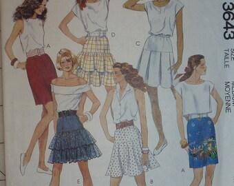 Vintage 1980's McCall's Misses' Skirts Pattern 3643  Size Medium  14-16