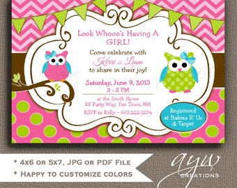 Owl Baby Shower Invitations Girl Baby Shower Invitations for Girls Polka Dots Chevron Printable Invitation Baby Shower Owl for Girls
