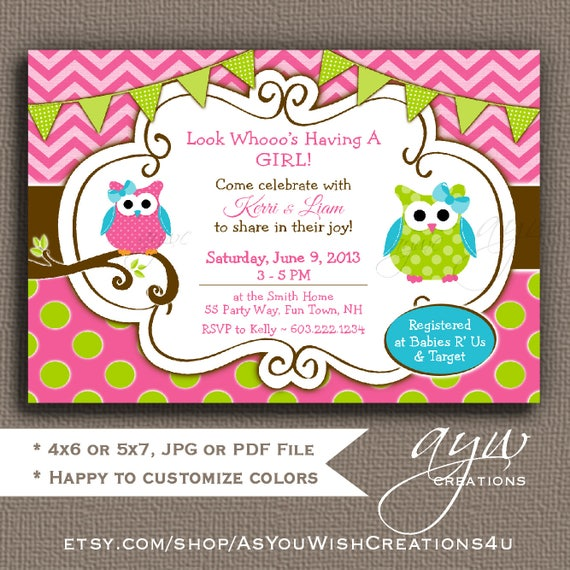 Owl baby shower invitations girl baby shower invitations for girls il570xn filmwisefo