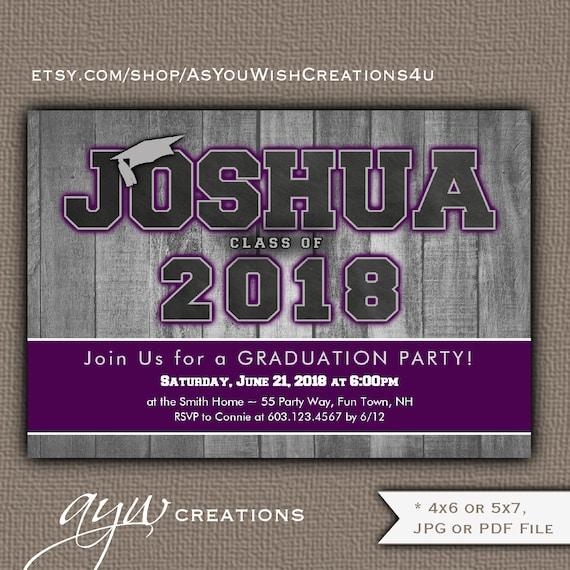 purple graduation invitation boy graduation party invitation on wood