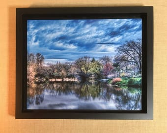 Central Park In Early April Fine Art HDR Photography Print Featuring the Gapstow Bridge on ChromaLuxe Metal