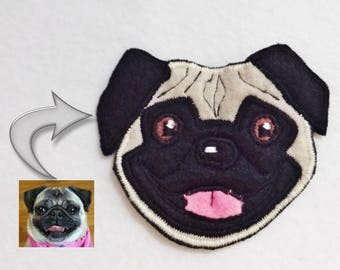 Custom Dog Portrait Patch. Textile Art. Pug