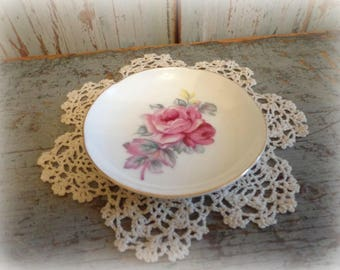 vintage butter pat with pink roses / bone china dish / cottage decor