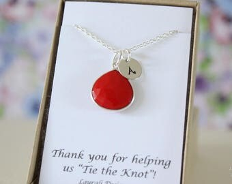 10 Bridesmaid Initial Necklace Coral, Bridesmaid Gift, Red Gemstone, Sterling Silver, Monogram Jewelry, Personalized, Jr Bridesmaid Gift