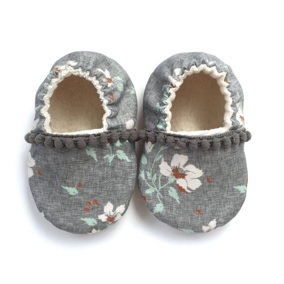 Grey Floral Pom Pom Organic Baby Shoes