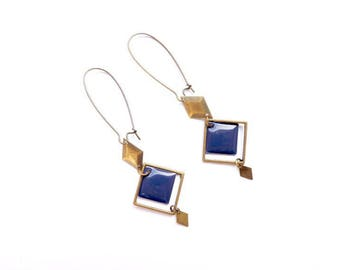 Earrings - Art deco (blue)
