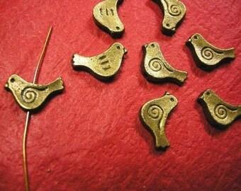 8pc antique bronze metal bird beads-516