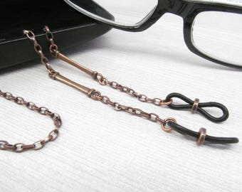 Eyeglass Chain for Men in Copper, Reading Glasses Chain, Chain for Glasses Lanyard, Eyeglass Holder Necklace, Mens Eyeglasses Chain