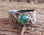 RING Turquoise and Sterling Silver Triple Goddess Ring