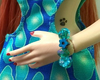 Fashion Doll Stretch Bracelet Jewelry - Blue Iris Hematite Flower and Aqua Crystal Bracelet for Barbie, Fashion Royalty, Poppy Parker etc