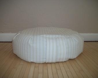 "6 UNFILLED Zafu Meditation Cushion. Dorm/Floor pillow. Cream pinstripe reclaimed fabric. 15x5. 6"" L. Sidewall velcro. Handmade, USA"