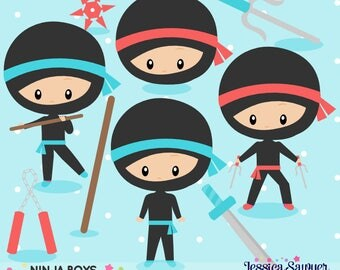 INSTANT DOWNLOAD - Ninja Party Clipart and Vectors for personal and commercial use