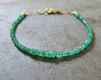 Emerald Bracelet | Emerald Bead Bracelet | Emerald Jewelry | Emerald Jewellery | Green Gemstone | May Birthstone Bracelet | Taurus Jewelry