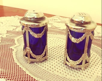 Antique Cobalt Blue and Silver trim Salt and Pepper Shakers