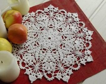 Crochet doily White cotton handmade lace doilies Centerpiece table decor Lace doilies crochet Elegant doily 404