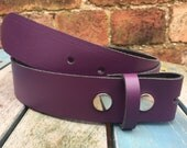 Purple Leather Press Stud Snap Belt Choice of Widths & Press Studs Handmade Real Leather Add Your Own Buckle