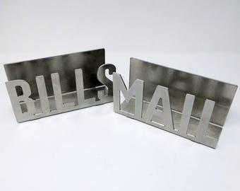 Metal Mail or Letter Holder Bill holder rustic organizer desk counter kitchen organization storage home office urban mail caddy metal decor
