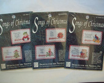 Christmas Cross Stitch Kits Lot of 3 Songs of Christmas Ornaments by Designs for the Needle Lois Thompson