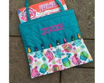 Personalized Coloring Book and Crayon Tote - Cute Owls