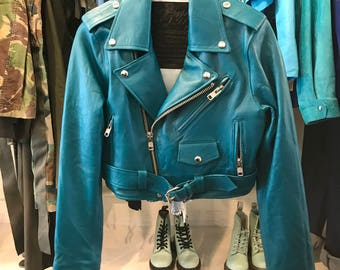 L.A. Roxx Teal Cropped Leather Moto