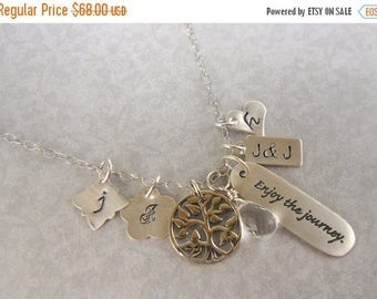 SALE Quotes Inspirational Jewelry Summer Travel Necklace Family Tree of Life 3 Kids Poetry Necklace Grad Gift Enjoy the journey