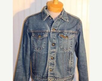 50% Off Sale Vintage Saddle King Plus estern Blue Trucker Biker Denim Jean Jacket SZ 40 Regular