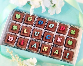 Good Luck Chocolate Message - Lucky Chocolate Squares - Unique Gift, New Job Gift, Retirement, Graduation Gift