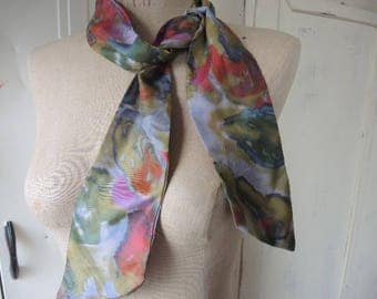 Vintage 1960s acetate scarf abstract floral 3 x 44 inches