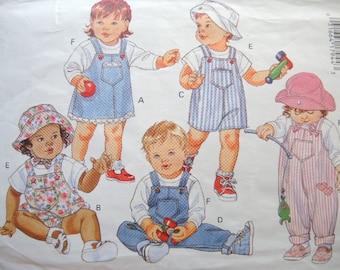 vintage 1990s Butterick sewing pattern 3172  infants jumper jumpsuit top and hat size NB-S-M