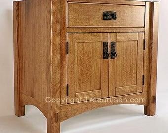 Vanity Bathroom Sink Cabinet Quarter Sawn Oak Craftsman Mission 26 Color Choice
