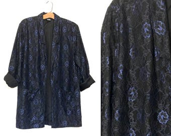 Vintage 80's 90s Blazer Black and Blue Floral Satin and Lace Blazer Victorian Style Gothic Goth Jacket Clothing Vampire Medium I