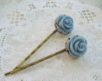 Blue Rose Hairpins, Antique Brass, Crown Hair Clips, Hair Accessories, Flowers, Bobby Pins, Weddings