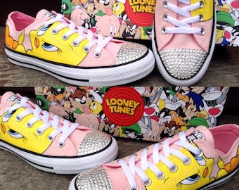 Tweety Bird Blush Pink Converse Low Top Classic Retro Cartoons Looney Tunes w/ Swarovski Crystal Chuck Taylor Bling All Star Sneakers Shoes