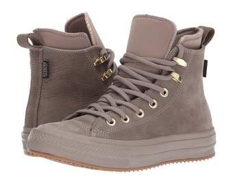 Leather Converse Nude Malt Gray All Weather Waterproof High Top Boot w/ Swarovski Crystal Jewel Rhinestone Chuck Taylor All Star Ladies Shoe