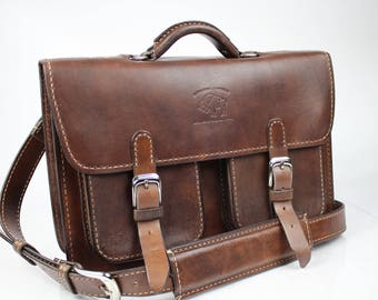Leather Messenger Bag,  Leather Briefcase, Leather shoulder bag, Macbook Pro, 173