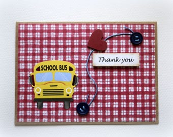 Thank You Card. For the Bus Driver. From Student. Little Note For a Driver. End of School. Thank You with Love. School Bus. Mixed media. 3D