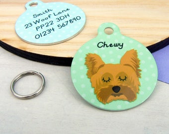 Yorkshire Terrier Dog ID Tag - Yorkie Collar Charm - Yorkie Dog Name Tag - Small 25mm