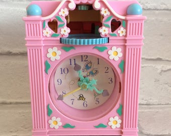1991 Polly Pocket Pink Funtime Clock by Bluebird- Collectible Rare 1990's Toy