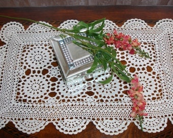 "Centerpiece Doily, Oblong, Handmade, Hand Crocheted, Small runner, Dresser scarf, 18x12"", Winter White, Cottage chic decor, Vintage decor"