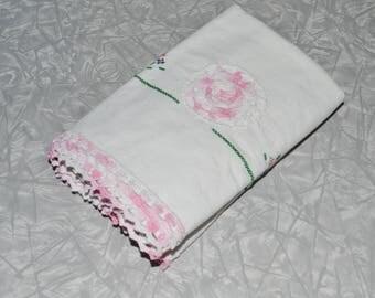 Vintage Hand Embroidered Pink Rose Pillowcases ~ Vintage Pink Linens Bedding ~