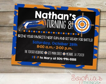 Nerf Birthday Party Invitation, Blue and Orange Nerf Gun Party Birthday Invite, Boy's Nerf Theme Party Invitation, Printable and Printed