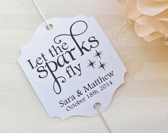 Sparkler Tags - Wedding Sparkler Send Off Favor Tags - Let the Sparks Fly Wedding Sparkler Labels - Personalized with Names and Date - WT014